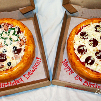 "Pizzas! The party was at Chuck E. Cheese, so it seemed fitting to try some pizza cakes! Each is a single layer 10"" round but since I torted..."