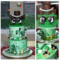Happy Irish Birthday! Ireland's O'Brien's Tower was recreated in gumpaste for this Irish-themed birthday cake for twin women. The husbands...