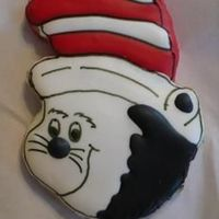 Read Across America - Cat In The Hat NFSC with royal icing. I made the pattern from a vinyl placemat.Thanks for the advice guys!