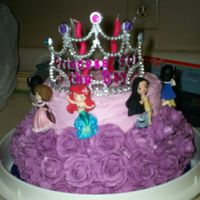 Princess Party My little girl wanted her cake covered in roses but I ran out of icing, so I improvised. I think it turned out really well. She loved it...