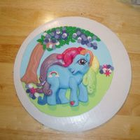 My Little Pony   This was copied from a party plate. It was placed on a round cake after it dried.