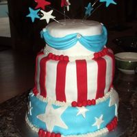 "Fourth Of July Cake Fondant with white BC on the ""seams"". There's a little bit of shimmer dust on the stars and swags but it's hard to see..."