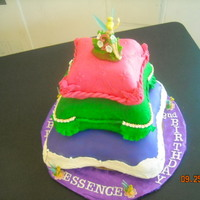 My First 3-Tiered Cake Tinkerbell pillow cake. Love the colors!! For 2-year-old Essence.