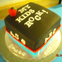 My Kids Rock! A friend wanted a back-to-school cake for her kids. Black Duff fondant works very well!!