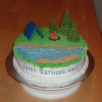 Camping This was for all of the fathers in my family. Since they all like to camp, I thought I would do this for the theme on the cake. For the...