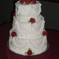 Wedding Cake This was my first wedding cake and my first attempt at tiers. I actually have never taken a class in my life. This cake is marble with b/c...