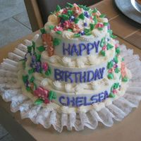 Happy Birthday Chelsea mini tiered- all b/c royal icing flowers