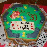 Poker Cake Fondant Accents w/ buttercream--real cards for bottom