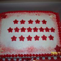 Birthday Cake For Young Lady Who Wanted Stars And Red Vanilla cake with raspberry bc filling iced in bc fondant stars and candy stars.