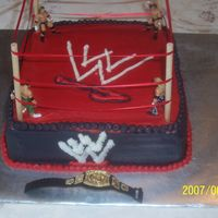 Wrestling Cake For My Son I wasn't real happy with the way this turned out but I was in a time crunch and he loved it anyway!