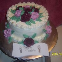Birthday Cake For A Friend French vanilla cake with raspberry bc filling. BC icing and roses.