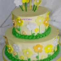 Yellow  Fondant Flower Birthday Cake