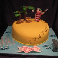 Pirate Cake chocolate cake with lots of fondant detail