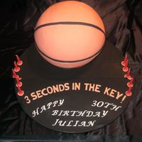 Basket Ball Cake chocolate med cake, chocolate ganache and fondant icing