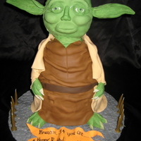 Yoda Chocolate mud, carved into 2 shapes, head and body.