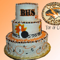 Musical Bowler Grad Mom wanted the graduate's interests on the cake, which were music & bowling. School colors: orange & black. Bowling pin &...