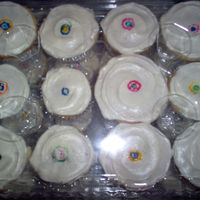Kandinsky Cupcakes Bride to be wanted Vanilla Vanilla cupcakes with cream cheese frosting. Said her plates were reminiscient of Kandinsky's painting, so...