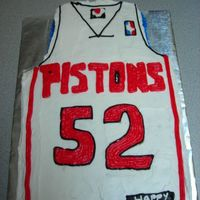 "Detroit Pistons Jersey Birthday Cake This was my mom's birthday cake... I kept going between a ""pretty"" cake, and a ""fun"" cake. She is a Pistons..."