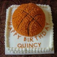 Quincy's Basketball Cake This was for a friend of ours who's son was just selected for All-Statebasketball team and it just so happened to be his birthday!...