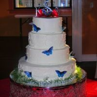 Swiss Dots, Scrolls And Wafer Paper Butterflies. This one was really cool. It scared me to death but I did it!! The bride that ordered this cake's father had passed away a number of...