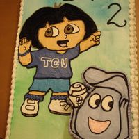 Dora And Backpack Cake was for a friend. Her son LOVES Dora and her family LOVES TCU. So I made Dora a sporty girl after I pattern transfered her onto cake....