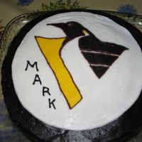 Penguins Hockey Birthday Cake Chocolate frosting and a FBCT for the logo. The birthday boy, my husband's cousin, is a big hockey fan.