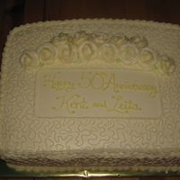 "Golden Anniversary Cake  My SIL's parents were celebrating their 50th wedding anniversary. Her sisters were planning the party and told my SIL to just, ""..."