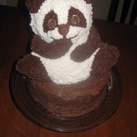 Panda Cake A panda cake for my little guy's 3rd birthday. I stuck it on the chocolate cake as an afterthought, which is why the bottom is not...