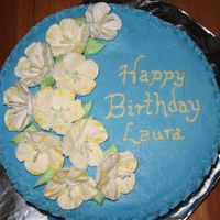 "Petunia Birthday Cake An 8"" cake made for a good friend. Her favorite colors are blue and yellow. Buttercream with my first attempts at royal icing petunias..."