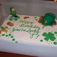 St. Patrick's Bday Cake This was for a co-workers 8 year old son - I was kind of tickled, he insisted on a cake with a leprachaun on it (his bday was March 3). I...