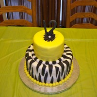 "Zebra Birthday 6"" & 10"" fondant zebra for my daughter's 12th birthday"