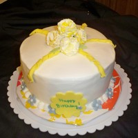 Birthday For Dh Cousin Kathy mimosa cake with gumpaste carnations, and indydebi bc