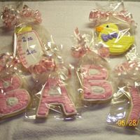 Baby Girl Closer shot of the sugar cookies I made for a Brand-new Mommy!!!