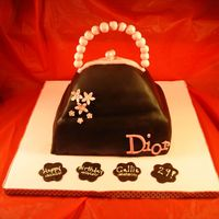 Dior Purse Cake Brown and Pink Purse Cake-Fondant cake gumpaste accesories