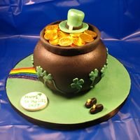 Pot Of Gold-St. Patrick's Day! All fondant except candy gold coins