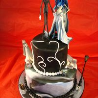 Corpse Bride Halloween Cake Fondant covered cake, gumpaste graves, royal icing spider web on right can't really see, toy figures. For a girl named Callie who...