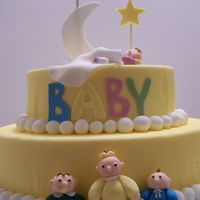 Baby Cake Covered in fondant and figures in gumpaste. Was created for client soon to be Mom of 3 babies.