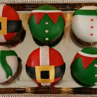 Christmas Cupcakes Santa, Elf, and Snowman Belly cupcakes!