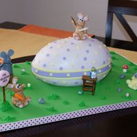 Easter Egg Construction Site Fondant bunnies decorating a giant Easter egg :)