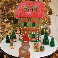 Santa's Gingerbread House 2009 This was my gingerbread house for 2009. Decorated with fondant. Inside, on the 1st floor, it has a living room for Santa with a Christmas...