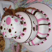Pink And Brown Baby Shower Cake   Inspired by Sarahscakes beautiful baby shower cake!