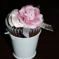 Bucket And Rose Cupcake made 500 of these babys as a wedding table dessert...this was in lu of cake. And yes, I had to make 500 paper roses, too...TFL! Chocolate...