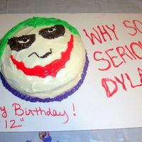 Joker Face Cake This was a very quick cake I tossed together for my eldest son's 12th birthday. I had to get creative in the middle of decorating it...