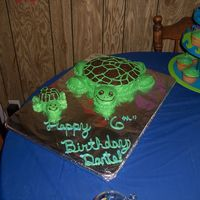 Turtle With A Baby Turtle Another cake for my youngest son's 6th birthday- A turtle with a baby turtle. This one was another quick thrown together one- had a...