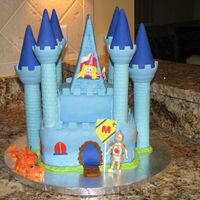 Castle Dragon   All MMF. Using wilton castle set for towers. Figures are fondant also.