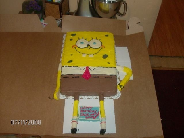 Spongebob I made this for a friend's daughter's 2nd birthday. The arms and legs are rice krispie treats.
