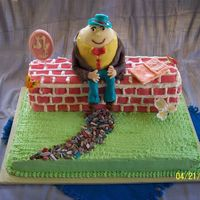 Humpty Dumpty Cake Humpty and the wall were made of white chocolate cake with fresh strawberries in the filling. The bottom layer was orange chocolate chunk...
