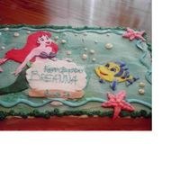 Little Mermaid Cake I did this one for the neighbor girl's Sweet 16 birthday. The characters are made of fondant, and I just sprayed the background with...