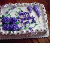 Mom's Very Purple Birthday Cake 13x9 size cake with buttercream icing. I used white and lavender ribbon to accent the cake.