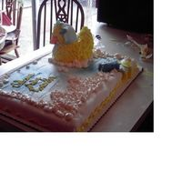 Bubble Bath Baby Duck This is a full sheet cake decorated as a bubble bath with a duck wearing a bonnet. I used the Wilton 3D duck pan and fondant to make the...